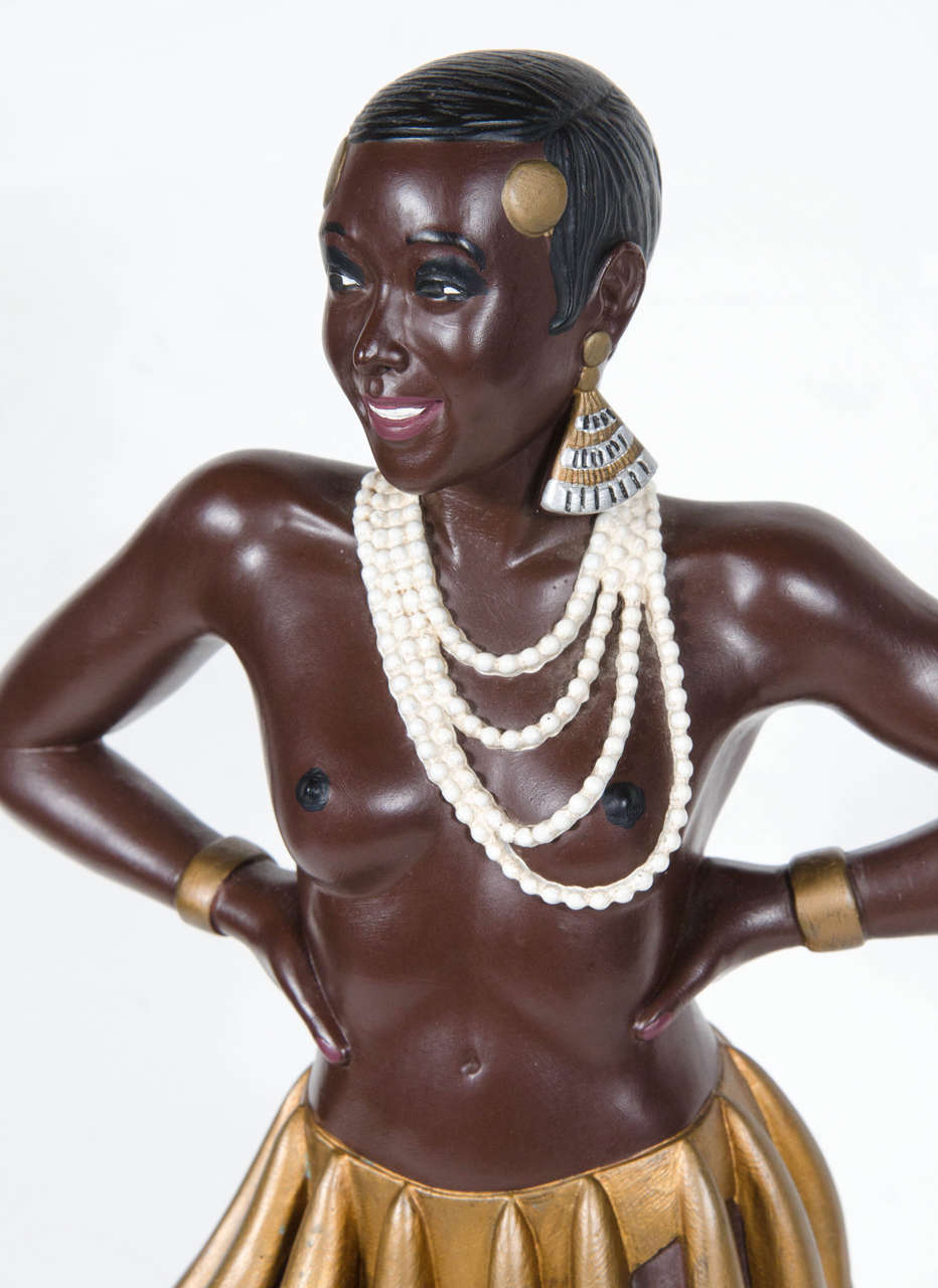 Hand Painted Ceramic Statue Of Josephine Baker By
