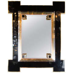 Mid-Century Mirror by Maison Jansen in Bronze, Chrome, Copper and Black Lacquer
