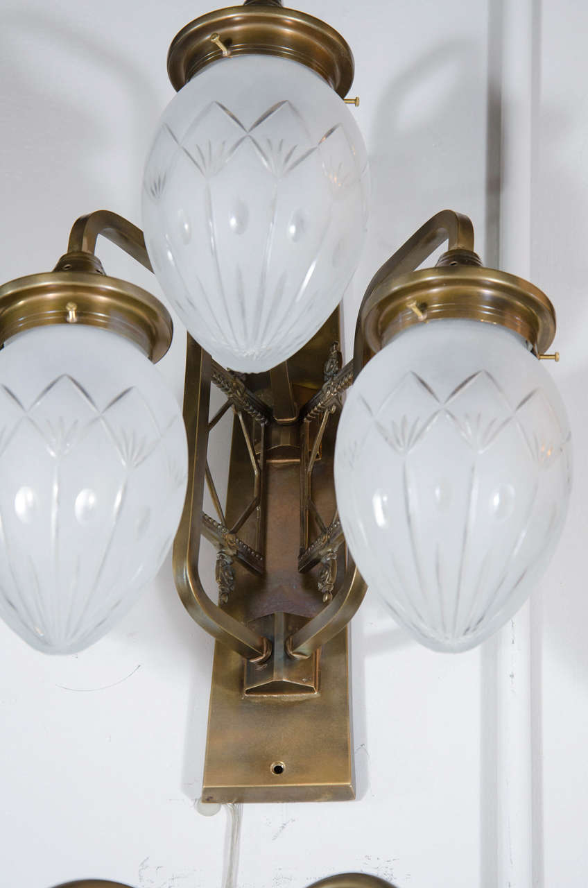Deco Style Wall Lights : Luminescent Art Deco Style 3-Globe Sconce For Sale at 1stdibs