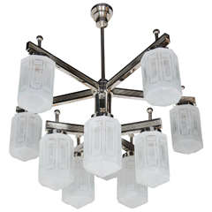 Magnificent Art Deco Style Ten-Arm, Nine-Globe Chandelier in Polished Nickel