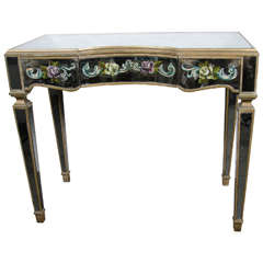 Elegant 1940s Hollywood Regency Console or Vanity with Églomisé Detailing