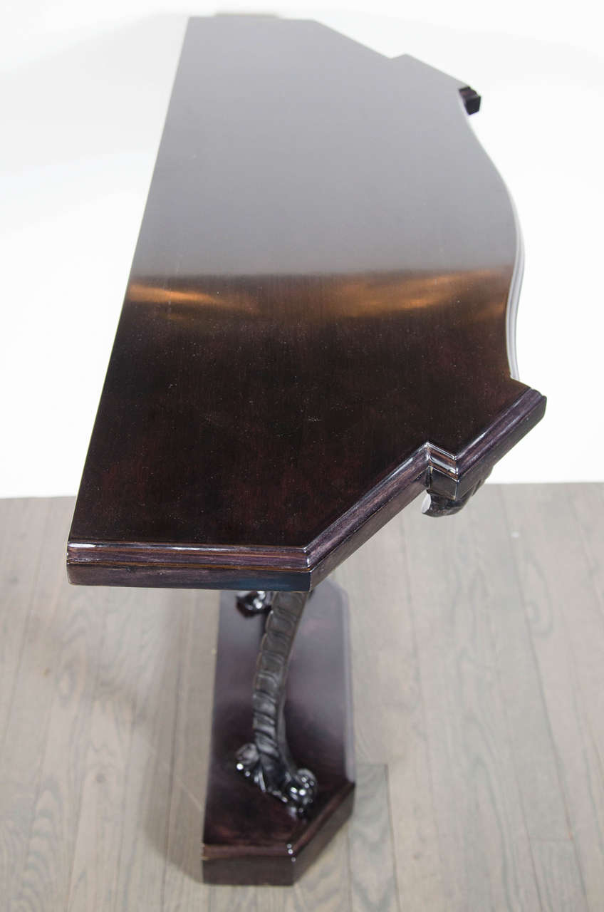 1940s Hollywood Regency Plume Console Table by Grosfeld House For Sale 3