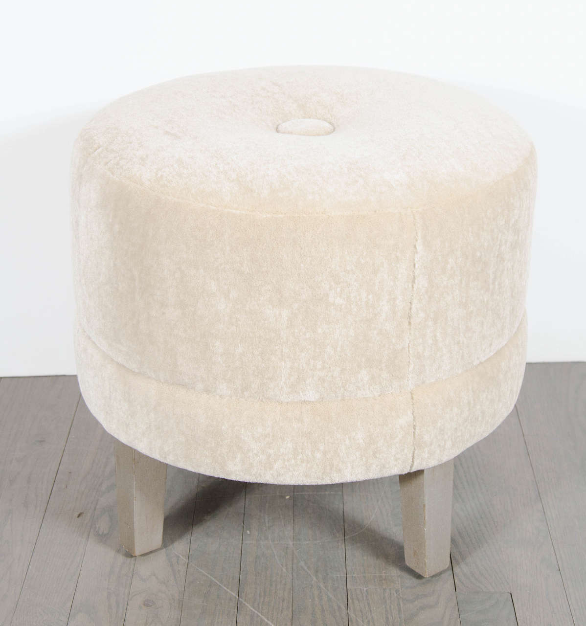 Art Deco Round Stool In Camel Mohair With Button Detail
