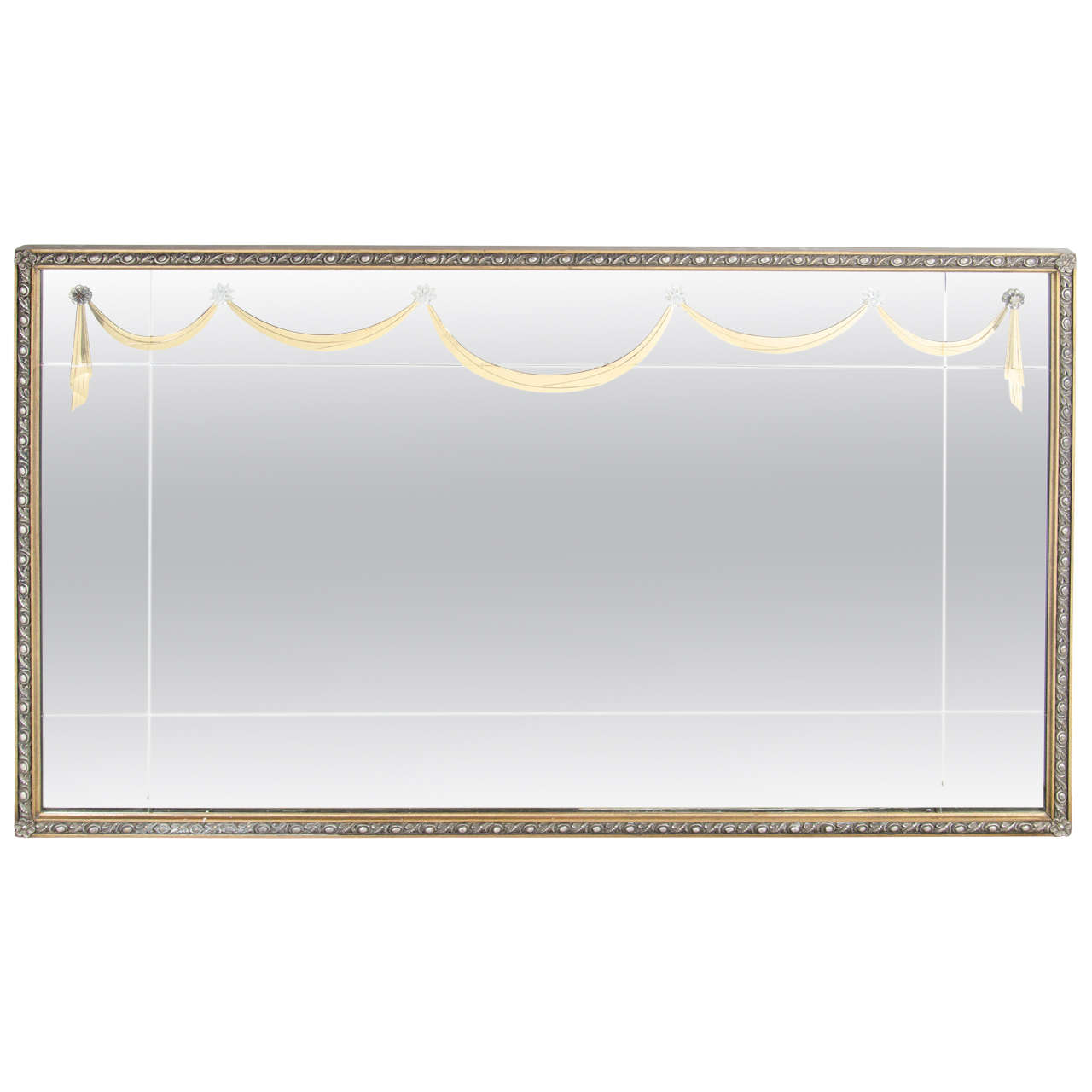 Glamorous  1940's  Gilt Mirror  with Lucite Appliqués By Grosfeld House