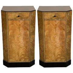 Pair of Art Deco Skyscraper Style Night Stands / End Tables in Book-Matched Elm