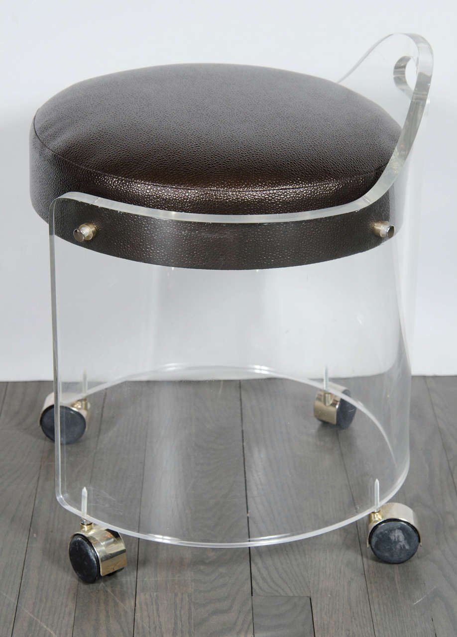 Mid Century Modernist Round Lucite Stool With Faux Bronze