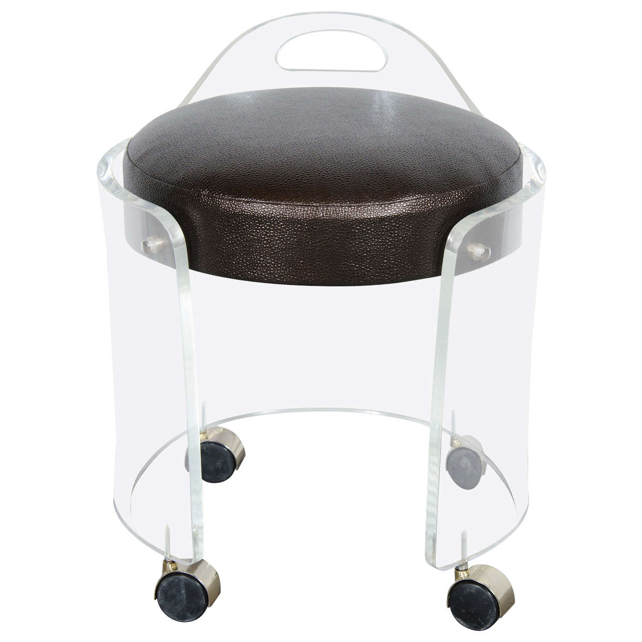 Mid-Century Modernist Round Lucite Stool with Faux Bronze Shagreen Upholstery