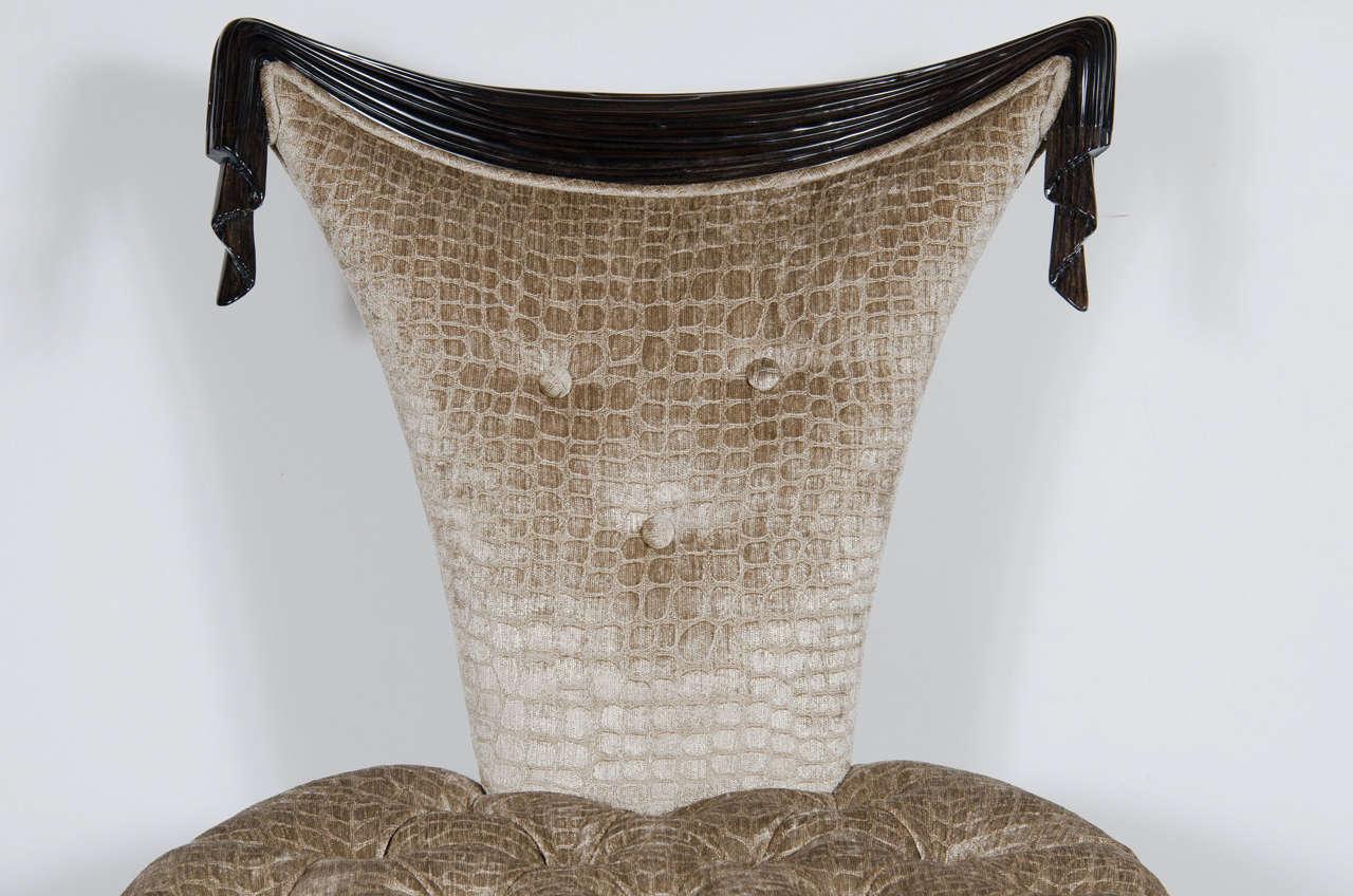 American 1940s Hollywood Regency Draped Chair by Grosfeld House in Ebonized Walnut For Sale