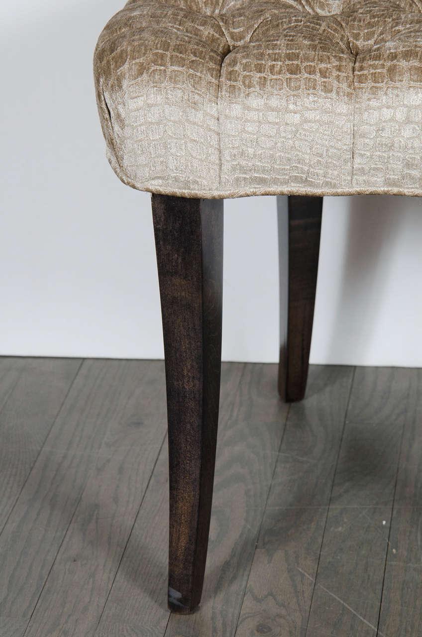 Mid-20th Century 1940s Hollywood Regency Draped Chair by Grosfeld House in Ebonized Walnut For Sale