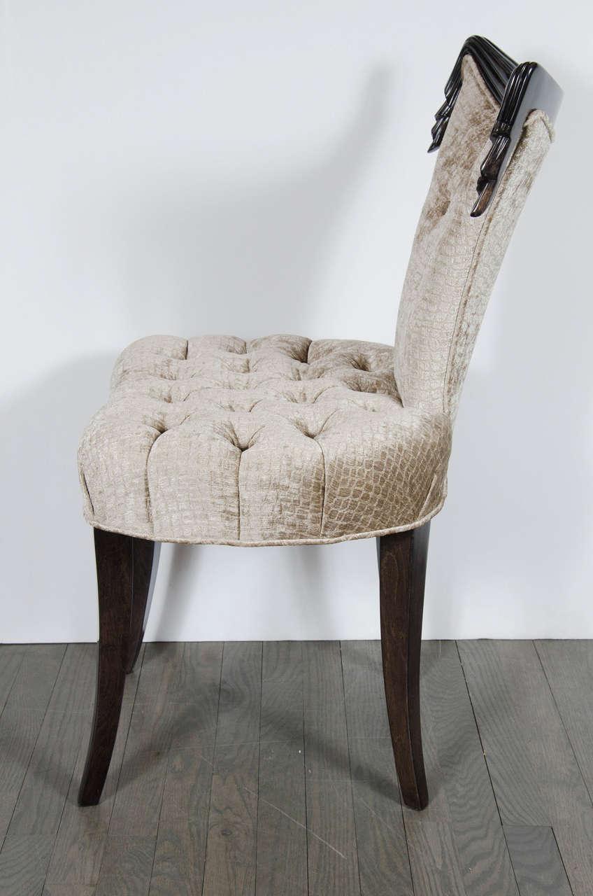 1940s Hollywood Regency Draped Chair by Grosfeld House in Ebonized Walnut For Sale 1