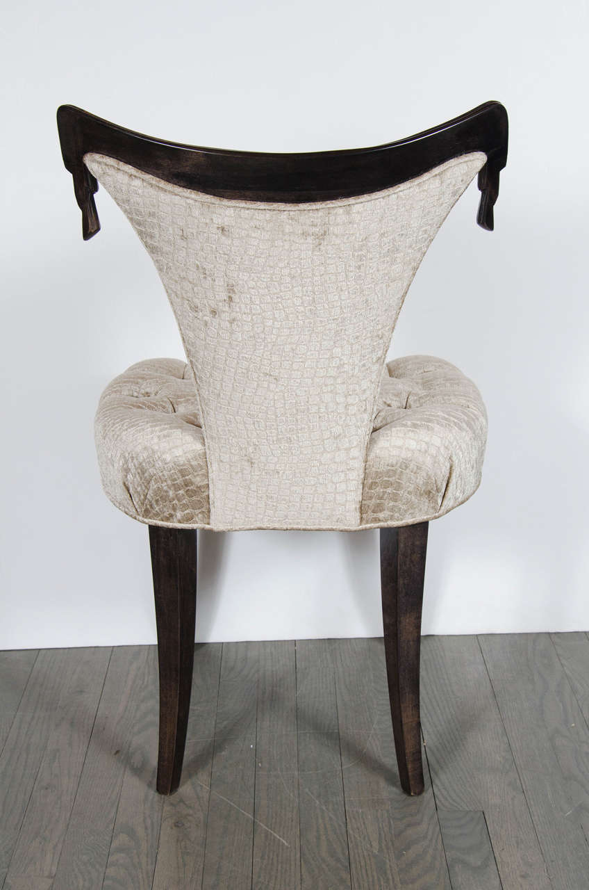 1940s Hollywood Regency Draped Chair by Grosfeld House in Ebonized Walnut For Sale 2