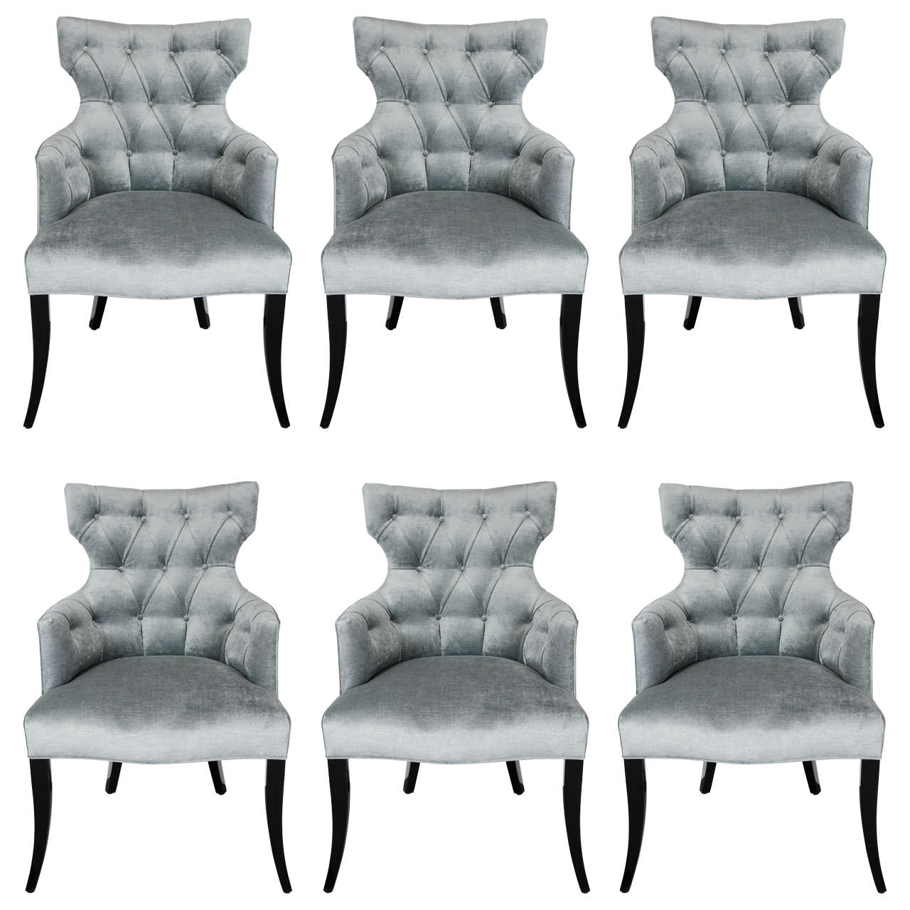 Set Of Six 1940u0027s Klismos Tufted Back Dining Chairs In Smoked Platinum  Velvet For Sale
