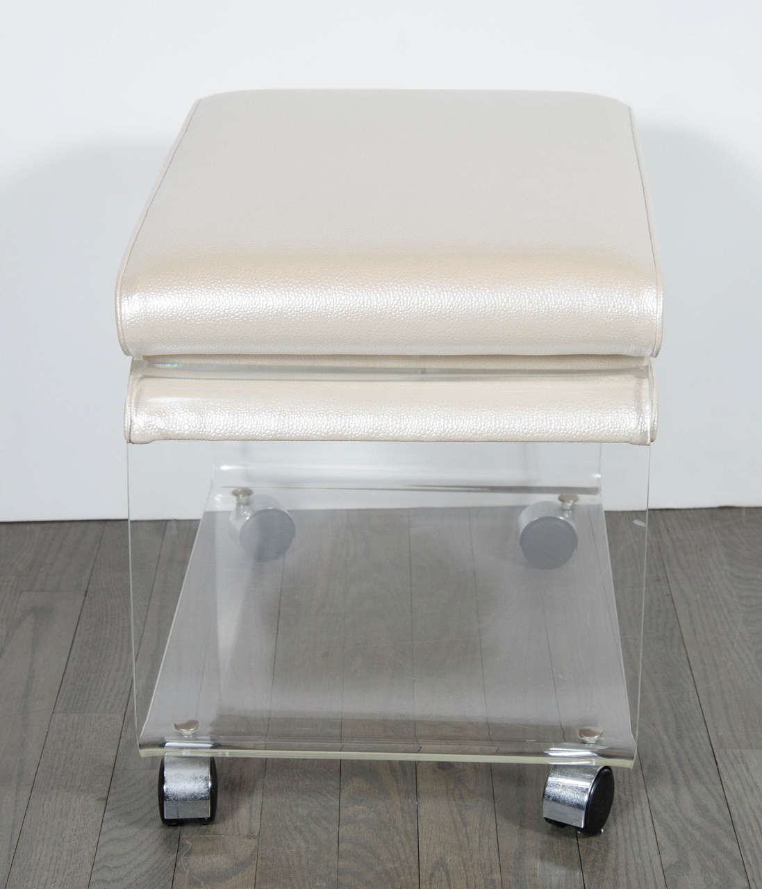 Mid Century Modernist Enclosed Waterfall Lucite Stool With