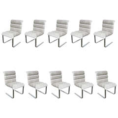 Set of Ten Mid-Century Cantilever Dining Chairs by Mariani for Pace Collection