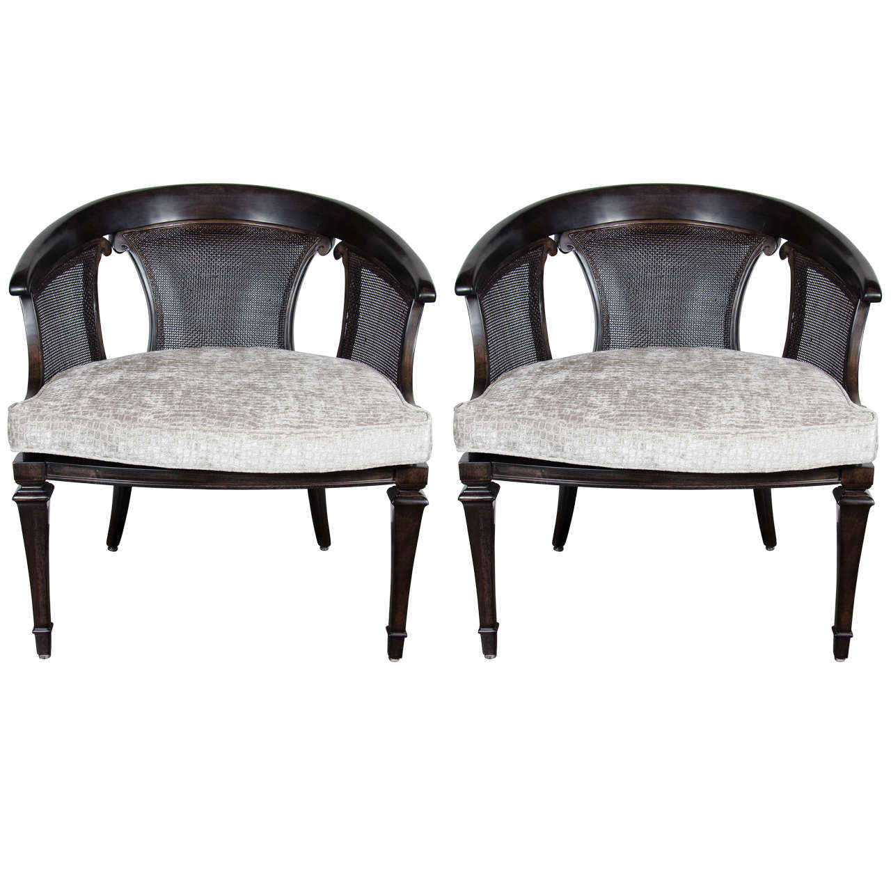 Chic Pair Of Mid Century Modernist Ebonized Walnut U0026 Cane Occasional Chairs  1