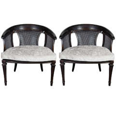 Chic Pair of Mid-Century Modernist Ebonized Walnut & Cane Occasional Chairs