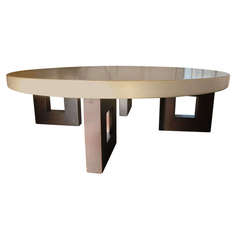 Paul Frankl Cork Top Round Coffee Cocktail Table By Johnson At 1stdibs