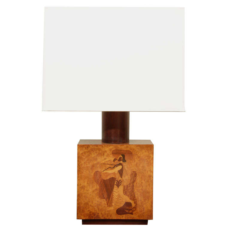 Inlaid Wood Table Lamp By Andrew Szoeke At 1stdibs