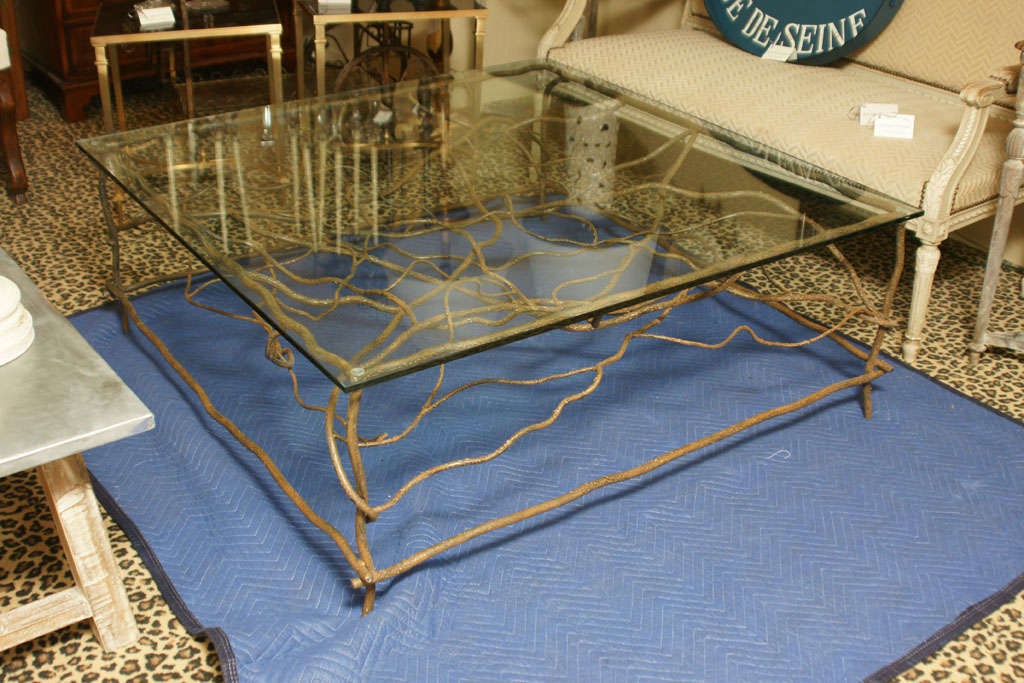 Handmade iron square cocktail table