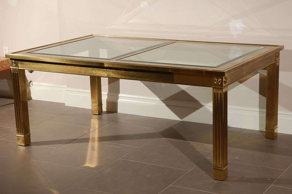 Mastercraft dining table with columnar legs for sale at for Amazing glass dining table