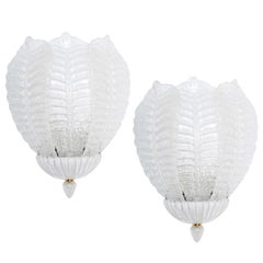 Vintage Barovier Three Leaf Sconces