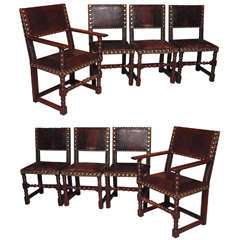 Set of 8 Antique English Oak and Leather Chairs with Brass Fittings