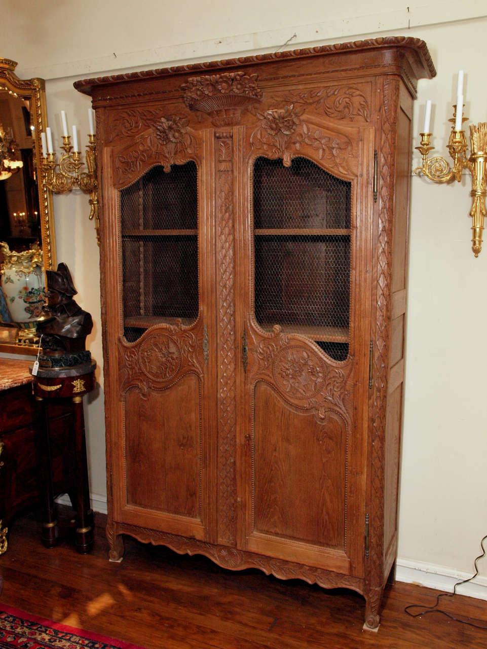 Antique French Provincial Oak Double Door Armoire Circa