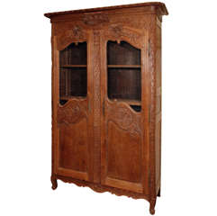 Antique French Provincial Oak Double Door Armoire circa 1800
