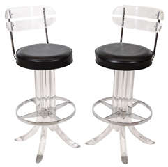 Pair of Lucite Bar Stools