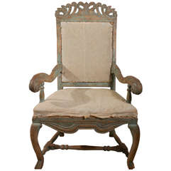 Swedish Baroque Chair in Original Paint