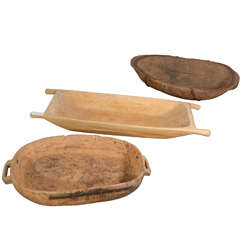 Primitive Swedish Wooden Dough Bowls