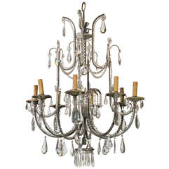 French Iron And Crystal Chandelier