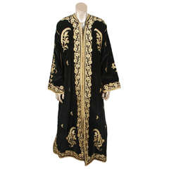 Amazing Vintage Caftan, Black Velvet and Gold Embroidered ca. 1960s