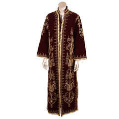 Moroccan Caftan 1970s Maxi Dress Kaftan Embroidered with Gold Size M