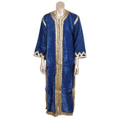 Vintage Bohemian Moroccan Blue and Gold Caftan