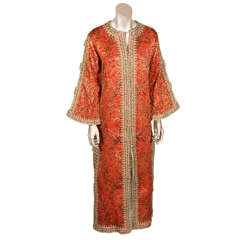 Vintage Designer Moroccan Silk Brocade Hand-made Caftan, 1970's