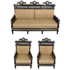 Middle Eastern Moorish Settee and Two Armchairs