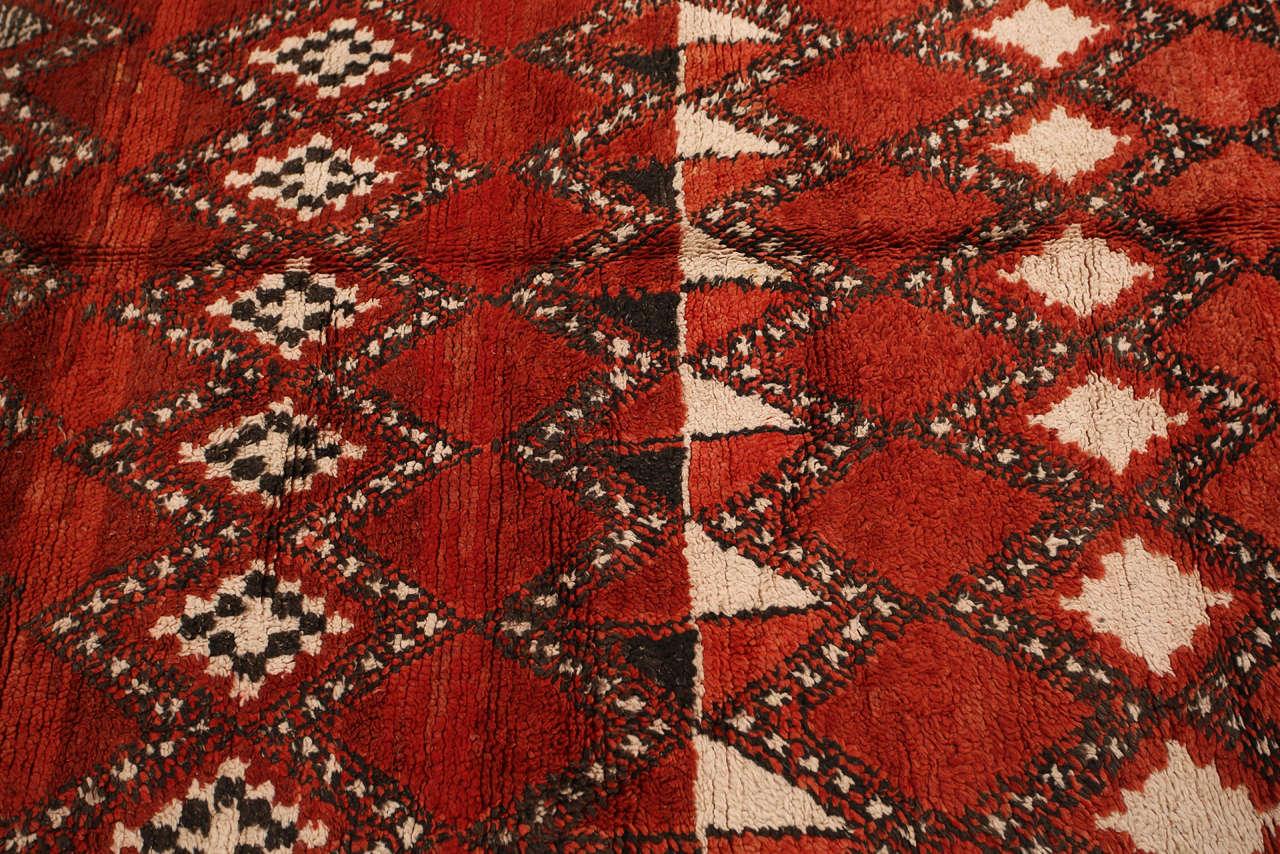 Vintage Moroccan Red Tribal Rug 3