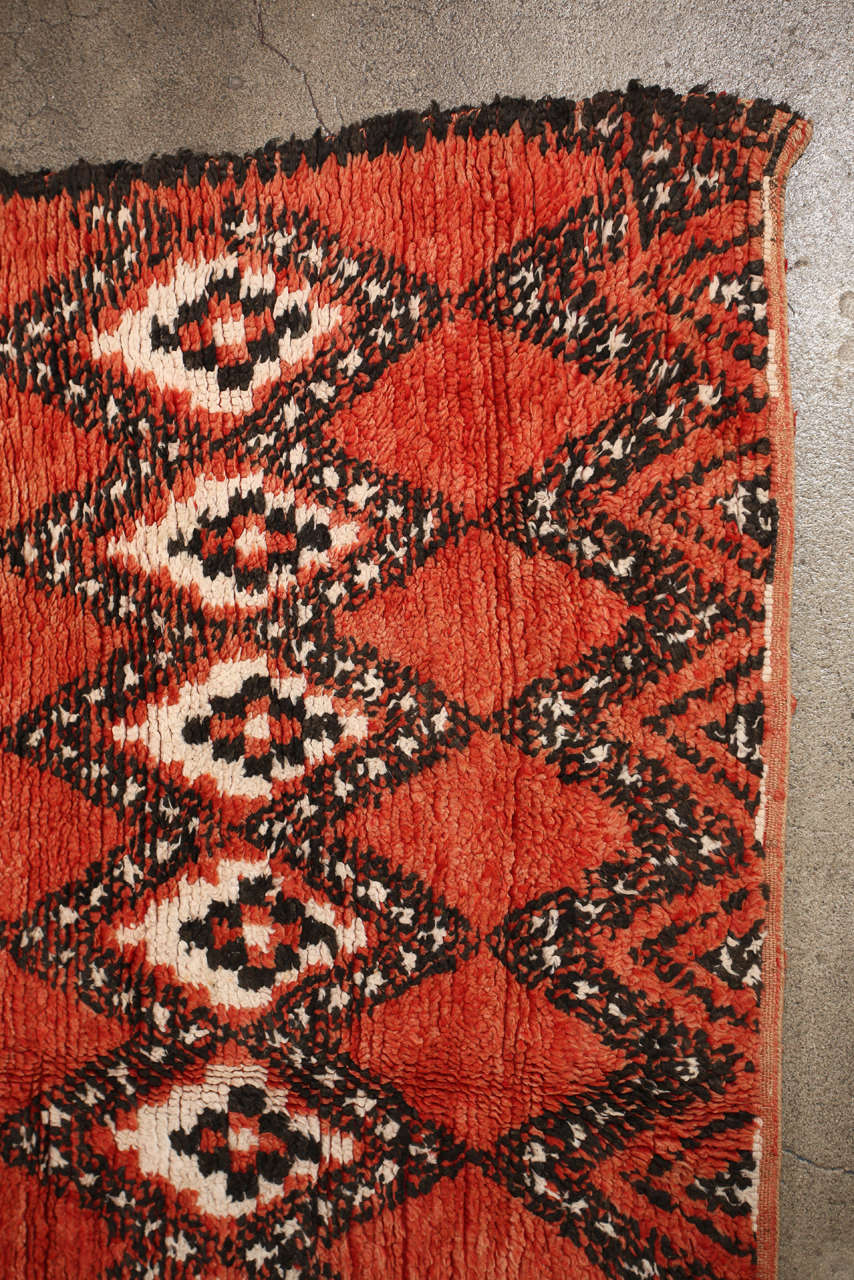 Vintage Moroccan Red Tribal Rug 4
