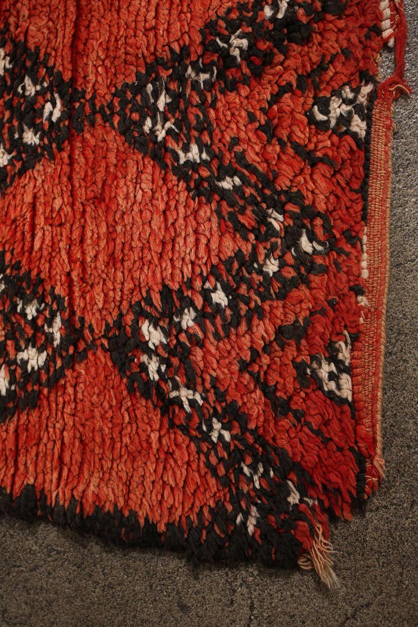 Vintage Moroccan Red Tribal Rug 5
