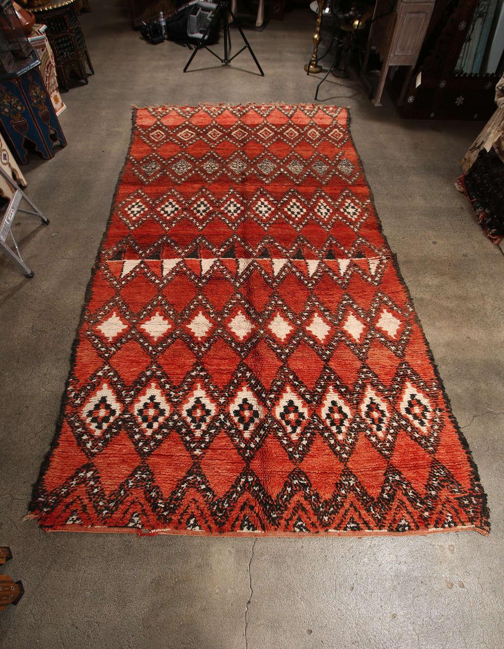Vintage Moroccan Red Tribal Rug 6