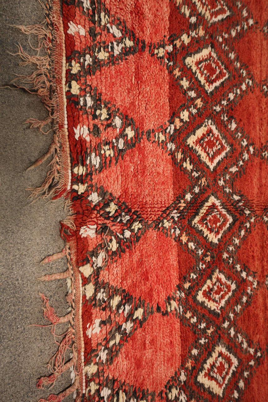 Vintage Moroccan Red Tribal Rug 7