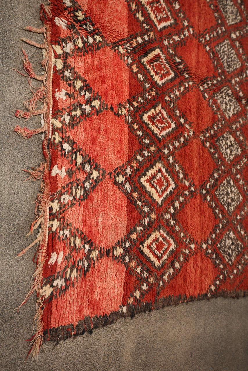 Vintage Moroccan Red Tribal Rug 8