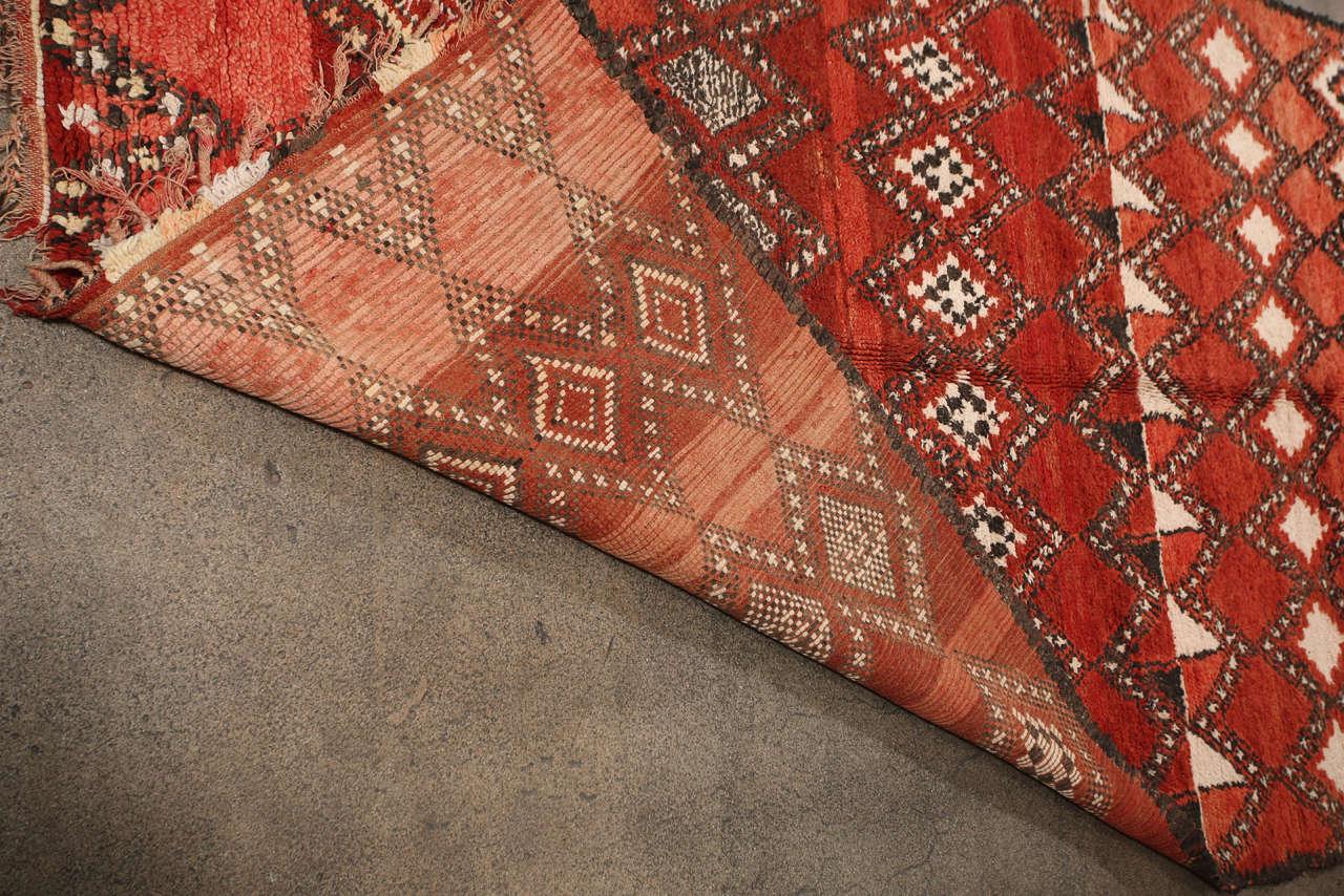Vintage Moroccan Red Tribal Rug 9