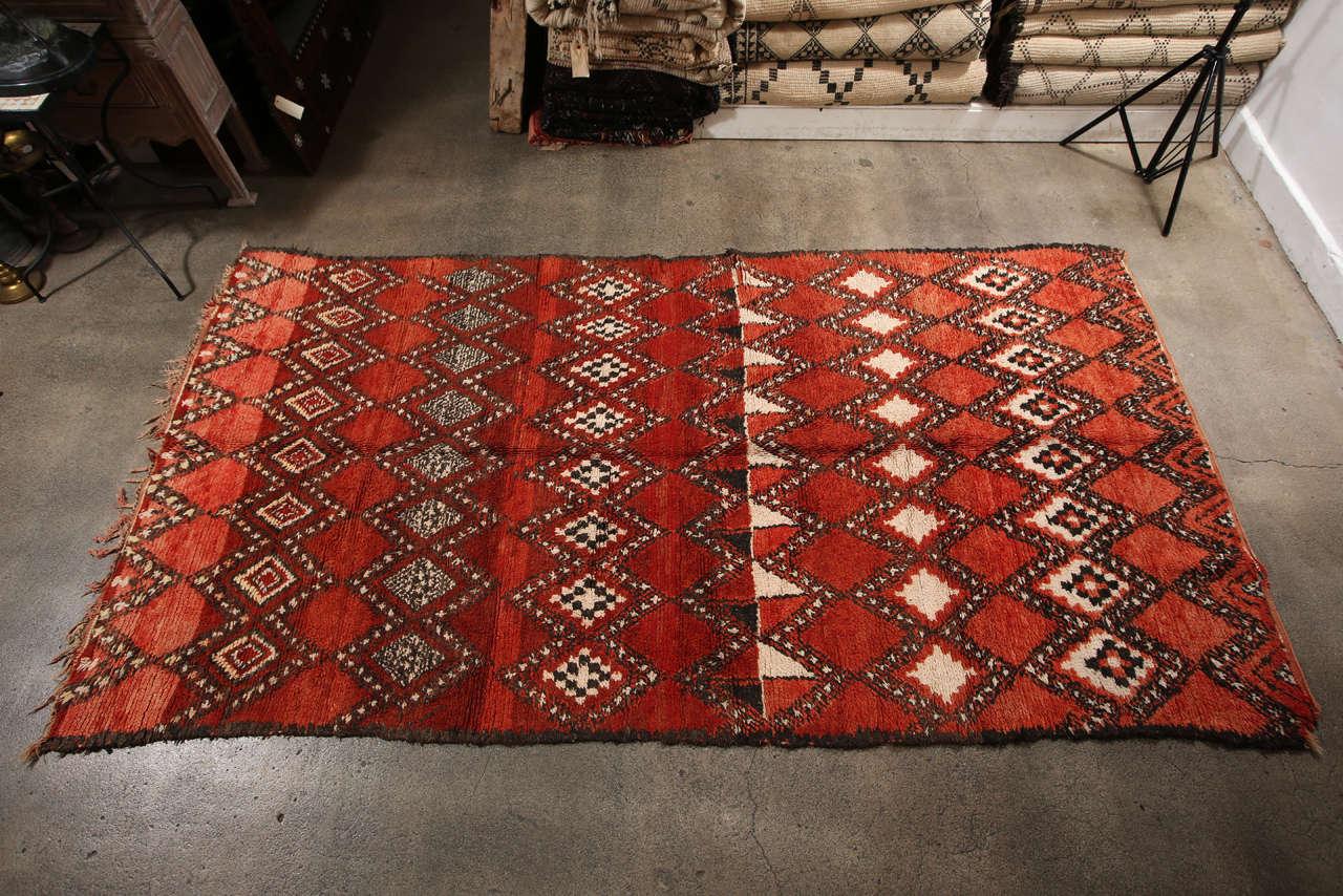 Vintage Moroccan Red Tribal Rug 10