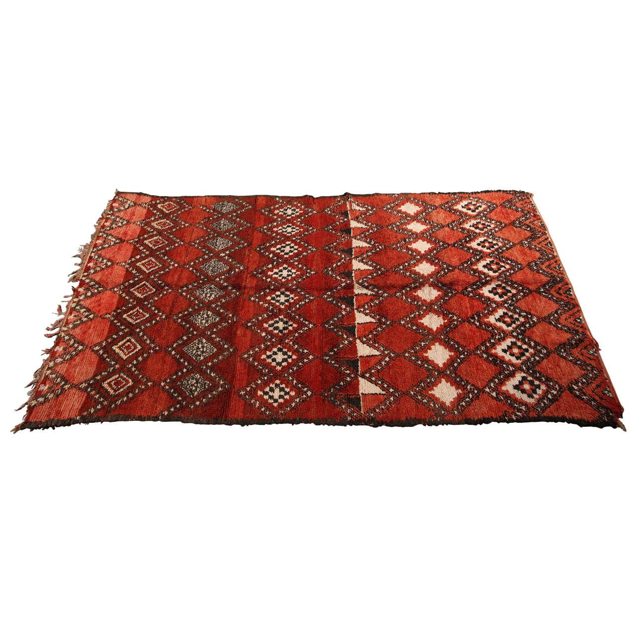 Maroc Tribal Rug: Vintage Moroccan Red Tribal Rug At 1stdibs