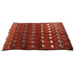 Vintage Moroccan Red Tribal Rug North Africa