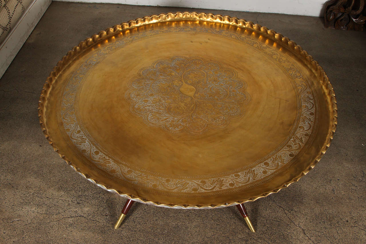 Moorish Large Moroccan Round Brass Tray Table on Folding Stand 45 in. For Sale