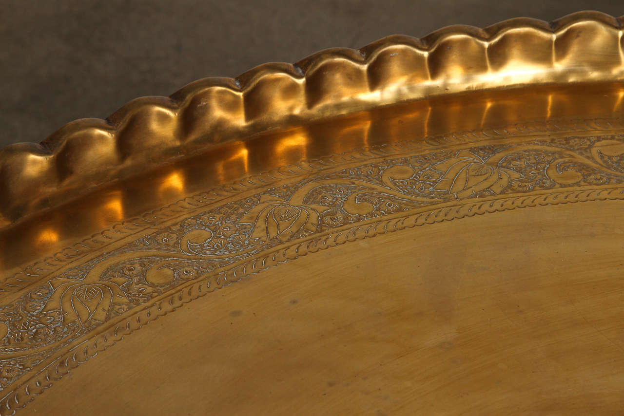 Hammered Large Moroccan Round Brass Tray Table on Folding Stand 45 in. For Sale