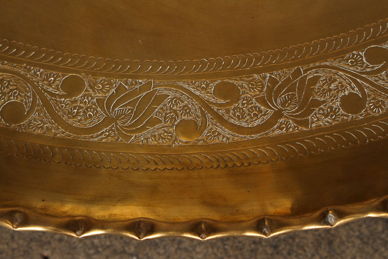 Large Moroccan Round Brass Tray Table on Folding Stand 45 in. In Good Condition For Sale In Los Angeles, CA
